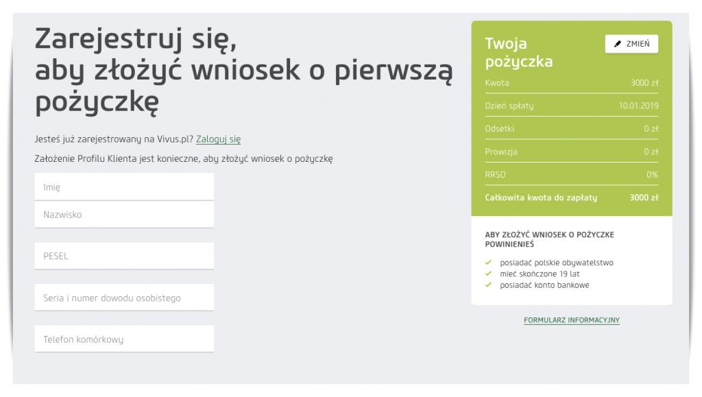 formularz vivus