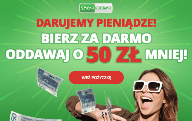 Promocja Szybka Gotówka: bonus 50 zł do pożyczki!!